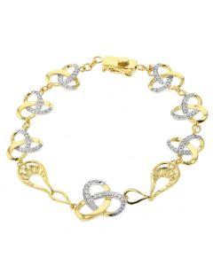 Diamond Knot Bracelet Womens Tennis Bracelet 0.7ctw Knot Style Yellow Gold-Tone Silver