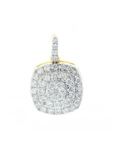 Diamond Pendant for Women Cushion Shaped Round Diamond Cluster 0.86ctw Yellow Gold-Tone Silver