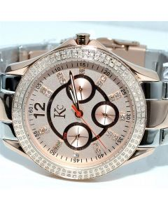 Ladies Diamond Watch Rose Gold tone Stainless Two tone 1ct Diamonds KC New Real