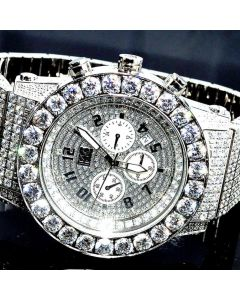MENS FULL CZ KC WATCH AVENGER STAINELS STEEL LARGE BAZEL NEW BIG 48MM 15CT RODEO