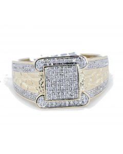 GOLD AND DIAMOND RING MENS SQUARE SHAPED PAVE FANCY PINKY RING 10K REAL 0.29CT
