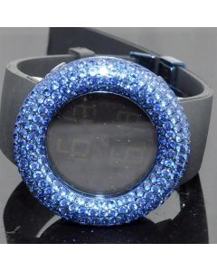 Blue CZ Digital Kc Watch black Rubber strap 48mm Full bazel and Case New Rodeo