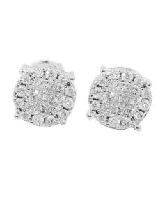 1/2ctw Diamond Earrings Princess Cut And Round 14K White Gold 8mm Wide