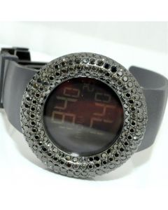 Mens Watch Full Black Case Bazel Digital Kc Rubber strap 5ct New Rodeo Jino Aqua
