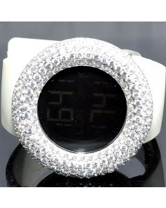 Digital KC watch full Cz Bazel and Case white rubber Strap 48mm 5ct New