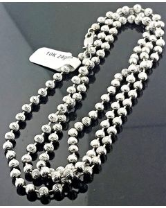 10K White Gold Chain Necklace Moon Cut Combat Moon Cut Bead Ball Chain 4mm 24gms