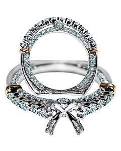 Diamond Semi Mount Wedding Ring Set 1.93ct 14k White Gold Two Tone Fits 1ct