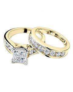 Princess Cut Diamond Engagement Ring and Wedding Band Set 1/2 Carat in 10K Yellow Gold