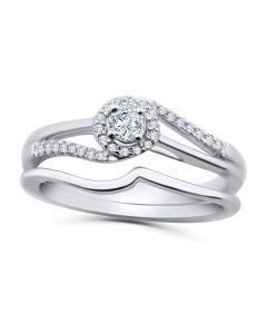 10K White Gold Engagement Ring Set Halo Style Swirl With Split Sides 2pc Set 1/4ctw Diamond