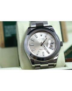 Rolex Men's 41mm Datejust II 116300 Stainless Steel Silver Dial With Box Papers