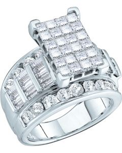 3CT Diamond Ring Invisible Set Princess Cut 14KW Extra Wide 3 in 1 Style
