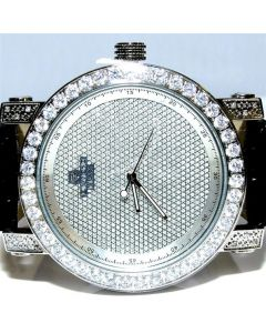 Mens Real 0.12ct watch Diamond Max Bazel Case iced out New 3 bands 50mm