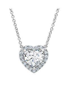 1.28ctw Heart Diamond Solitaire Pendant Platinum Necklace Set GIA Certified Heart Pendant