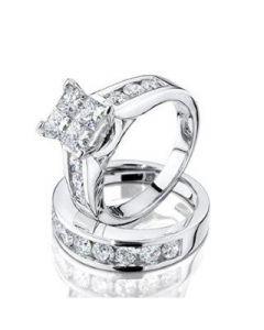 Midwest Jewellery Princess Cut Diamond Engagement Ring and Wedding Band Set 1/2 Carat 10K White Gold