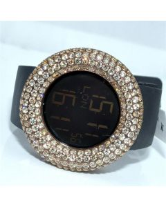 Cognac CZ digital Mens Watch KC with Rubber strap 48mm Iced out Bazel and case