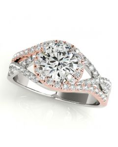 Multi-Row Diamond Engagement Ring 14K White and Rose Gold Semi Mount Fits 1ct round Solitaire
