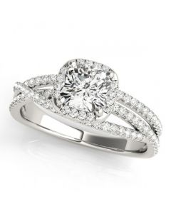 14K White Gold Engagement Ring Semi Mount 0.35ctw Fits 1ct Cushion Cut Solitaire