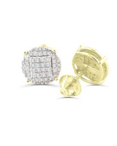 1/2ct Diamond Earrings Round Pave Cluster Gold-Tone Sterling Silver Screw Back 10mm Wide Mens Womens Studs