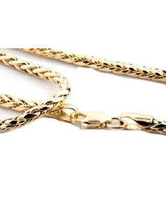 Midwest Jewellery 10K Gold Wheat Chain Palm Chain Necklace Womens or Mens Real Gold 2.5mm