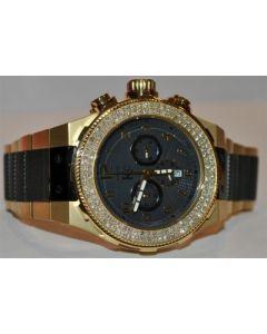 DIAMOND WATCH KC TECHNO 2.75CT SI QUALITY GOLD & BLACK FINISH 48MM