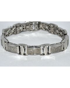 DIAMOND BRACELET MENS 1.65CT IN HEAVY WHITE GOLD FINISH 925 GENUINE DIAMONDS