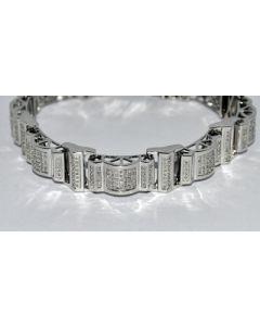 DIAMOND BRACELET MENS 1.60CT IN HEAVY WHITE GOLD FINISH 925 GENUINE DIAMONDS