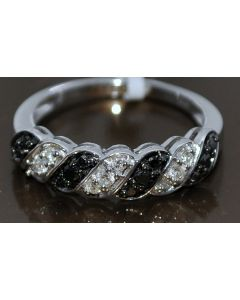BLACK AND WHITE DIAMOND BAND RING WEDDING RIGHT HAND 0.35CT 925 WHITE GOLD FINSH