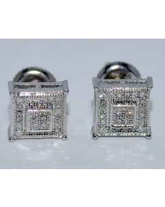 DIAMOND STUD EARRINGS SQUARES 0.15CT WHITE GOLD FINISH SILVER 8MM SCREW BACK