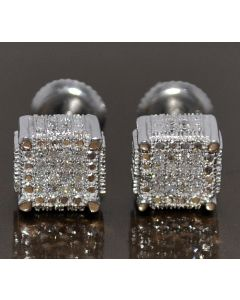 DIAMOND STUD EARRINGS CUBES 0.2CT WHITE GOLD FINISH SILVER 7MM BIG SQUARES SCREW