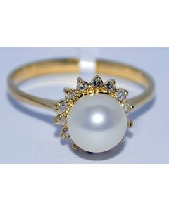 PEARL WITH DIAMONDS RING 14K GOLD 0.15CT DIAMONDS 6.5MM CULTURED PEARL LADIES
