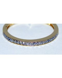 0.16ct WEDDING BAND RING 14K YELLOW GOLD ROUND PAVE SET ORNATE ANNIVERSARY RING