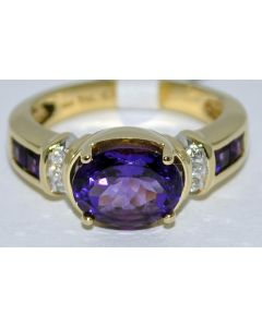 LADIES AMETHYST AND DIAMOND RING YELLOW GOLD 14K GEMSTONE ENGAGEMENT RING MOTHER