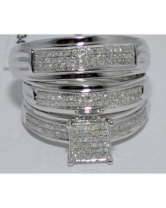 3PC WEDDING TRIO SET BRIDAL MEN & WOMEN ENGAGEMENT + BANDS 0.5CT 14K WHITE GOLD