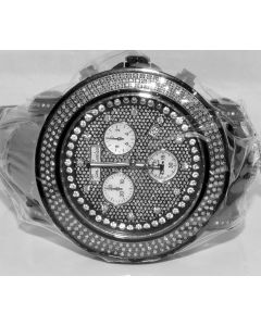 MENS DIAMOND WATCH JOE RODEO JUNIOR BLACK PVD STAINLESS STEEL EXTRA BANDS 2.5CT