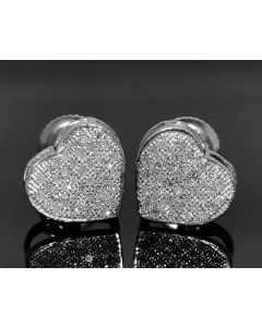 DIAMOND HEART EARRINGS 0.33CT STERLING SILVER WHITE GOLD FINISH STUDS SCREW BACK