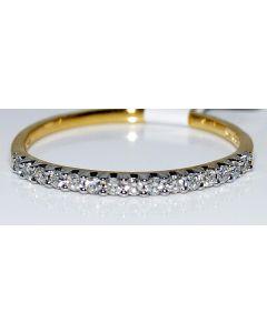 DIAMOND WEDDING BAND RING 14K YELLOW GOLD 0.15CT 15 ROUND DIAMONDS 1.5MM