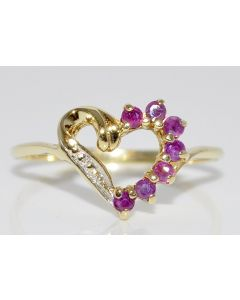 RUBY AND DIAMOND HEART RING LADIES GEMSTONE BIRTHSTONE 10K GOLD