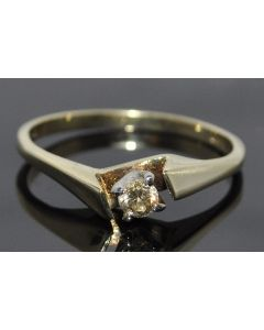 ENGAGEMENT RING PROMISE 0.15CT SOLITAIRE DIAMOND CHAMPAGNE 10K GOLD