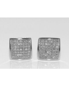 SQUARE SHAPED ROUND DIAMOND STUD EARRINGS 10K WHITE GOLD 0.2CT 7MM SCREW BACK