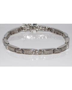 Diamond Men's Bracelet Fancy 1ct Sterling Silver white gold finish