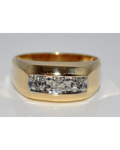 Mens Diamond Ring Wedding Band 0.15ct 10K Gold 9mm Size 10 3 diamond