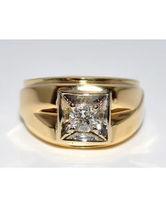 Diamond Men's Ring Wedding Pinky Ring 0.3ct Solitaire 14K Gold Comfort Fit 12mm