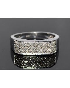 Mens Diamond Wedding Ring 0.25ct Sterling Silver White Gold Finish 6.5mm Pave