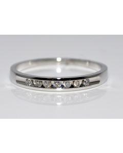 Diamond Wedding Band Anniversary 0.1ct 10K White Gold 7 diamond 2.5mm Comfort