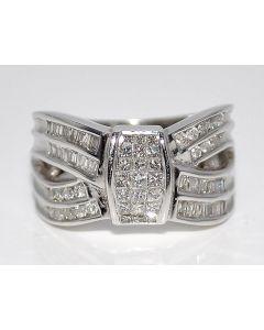 Diamond Wedding Band Anniversary Band 1ct 14K White gold Princess cut & Baguette