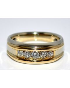Diamond Wedding band Ring 0.5ct 14K White Gold two tone Mens Comfort fit 8.5mm