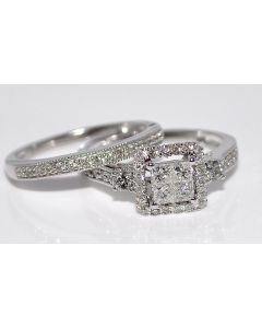 Bridal Wedding Set 2pc Engagement Ring & Band 0.73ct Certified by EGL White Gold