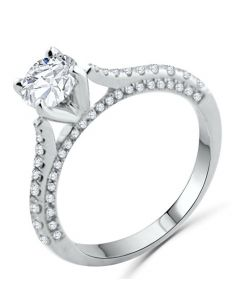 14K White Gold Engament Ring Round Solitaire Diamond 1.16ctw, 0.85ct Center Cathedral Style