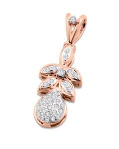 10K Rose Gold Diamond Pendant 1/5ctw Diamond Pear Shaped leaves and Fruit Style Pendant