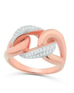 Rose Gold Tone Statement Ring Anniversary Fashion Ring With White Couture Style Simulated Diamonds